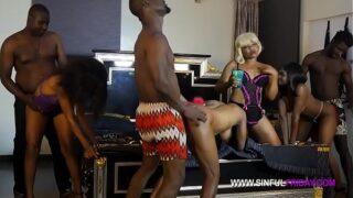 Full Sinfulfriday orgy party: Sexy Splash, Caramel Shawn, Juicy Box, Natasha Fredrick, Alhaji, Impo, Sambo, Mr Bombastic